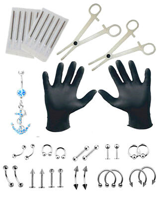 Body Piercing Tool kits  Nose Lip Tongue Ring Septum Forceps Piercing Needle