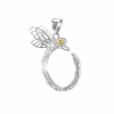 Dragonfly Gold & Sterling Silver Pendant by Peter Stone Fine Jewelry
