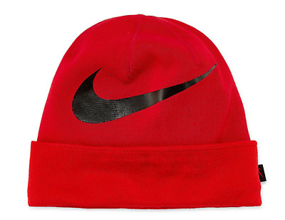 the best attitude 10080 3ee0e Nike Big Swoosh Cuffed Dri-Fit Beanie Red Black Knit Hat Cap Adult Men