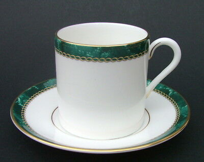 Royal Worcester Medici Green Rimmed 125ml Coffee Cups &  Saucers - Look in VGC