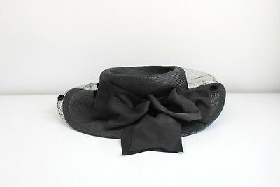 40a425994e2 Vintage Plaza Suite by Betmar Black Straw Hat with Bow   Black Polka Dot  Veil