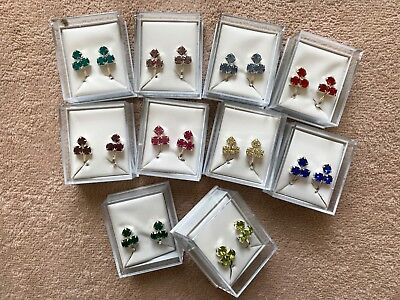 JOBLOT-10 pairs of mixed colour CLIP ON earrings.Gift boxed.Silver plated.