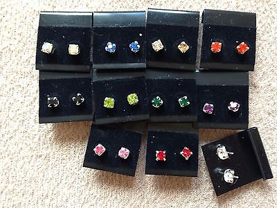 JOBLOT-10 pairs of 0.5 cm 8 colours diamante stud earring. Silver plate.UKmade