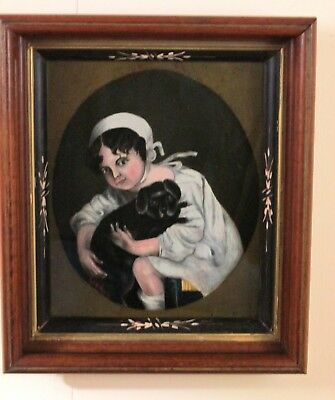 Antique Folk Art Oil Painting E. A. Howell Child Hugging A Dog Berks County, PA