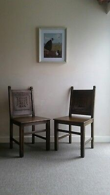 Antique oak hall chairs