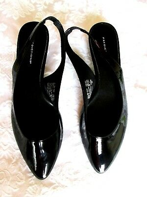 36bb59b8286f PREDICTIONS 8.5M Black Patent Pointed Toe Slingback Low Heel PUMPS HEELS NEW