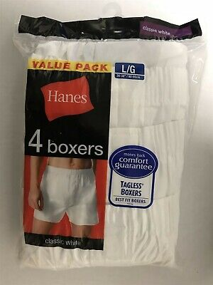 8ce37a6e30d Hanes Full-Cut Tagless Wove Boxers Comfort Fit Flex Wasteband White Large 4  Pack