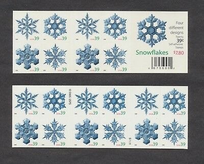 4108b - 39c Christmas Snowflakes - MNH Convertible Booklet of 20 - HARD TO FIND!