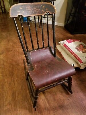 antique stenciled childs rocking chair