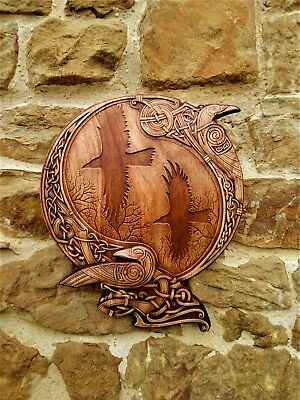 "Wood carved wall clock ""Ravens of Odin ""."