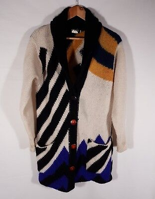 Vintage 80s Ugly Cardigan Knit Sweater Christmas Retro Funky Knitted Wool Mohair
