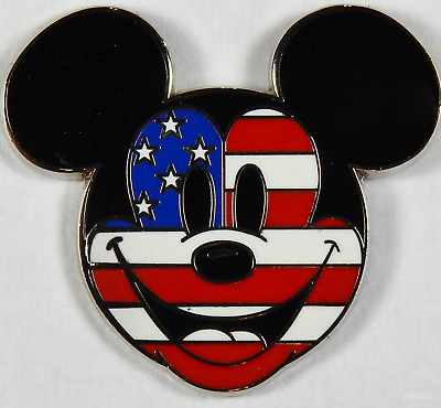 17e055da4a7 DISNEY PIN 69213 Mickey Mouse Flag Face Patriotic Americana Stars   Stripes  USA -  12.95