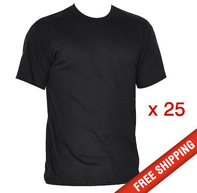 25 x Mens Plain Cotton Blank T-shirt Black S,M,L,XL,2XL