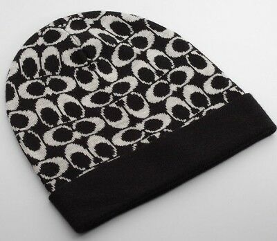 86e8e4c7a56 New Beautiful Designer COACH Logo Ladies Wool Knit Beanie Hat Black Gray  O Size