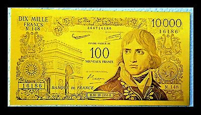 "★★ Billet Polymer "" Or "" Du 100 / 10000 Francs Napoleon ● Destockage ★★ Ref1"