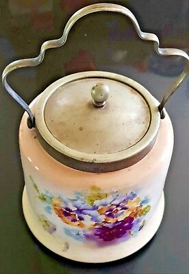 Antique English Porcelain Biscuit Barrel with Pansy Floral design