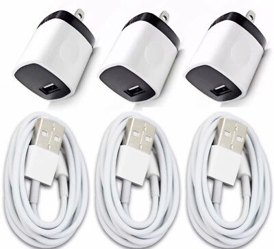 3x Wall Charger Adapter + 3x USB Data Sync Charger Charging For Phones Tablets