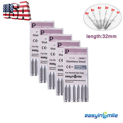 5X Dental Endodontic Root Canal Glidden Drills Peeso Reamers Bur 1# -6# Assorted