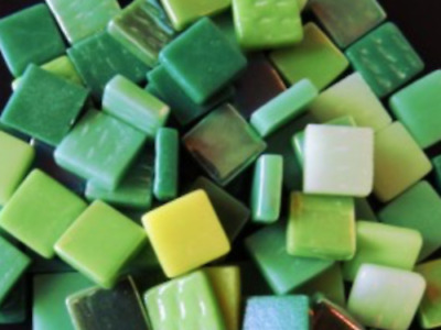 Green Mixed 12mm Glass Mosaic Tiles - Art Craft Supplies