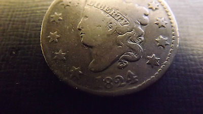 Usa 1824/2 Overdate Cent Good Grade Rare
