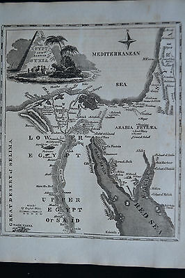 Antique Map Egypt Pyramids Red Sea Copper Engraving 1817
