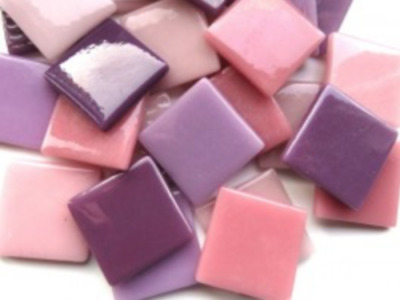 Pink & Purple Mix Gloss Glass Mosaic Tiles 2.5cm - Art Craft Supplies