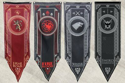 ✅ Game Of Thrones Tournament Banners Set Of 4 House Stark, Targaryen, Lannister