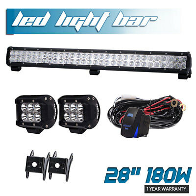 "180W 28"" Led Light Bar Combo Beam Off Road Fog For   With 18W Spot Pods Lamp"