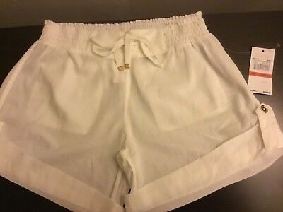 df2aedc60f353 Michael Michael Kors Womens White Pull On Beach Shorts Swimsuit Cover Up Xs