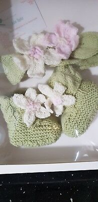 Hand made Blossom Baby girl headband and bootie set