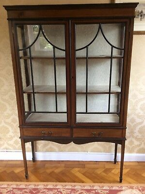 Antique Edwardian Display Cabinet Bookcase Original