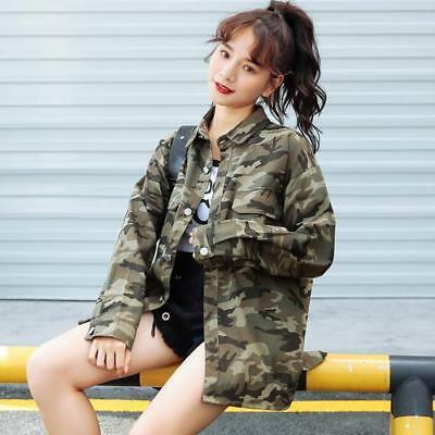 Women Jacket Military Street Style Camouflage Jeans Single Breasted