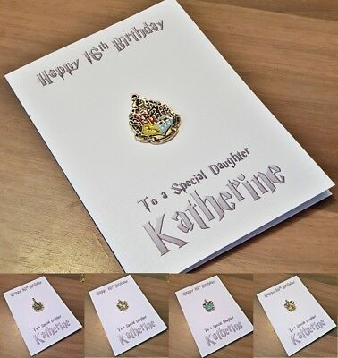 Harry Potter PERSONALISED Birthday Card Metal Gryffindor Slytherin Hufflepuff A6
