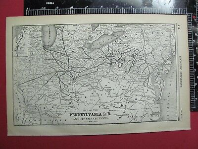 Rare 1893 Pennsylvania Railroad System Map Prr Pn Oh In Md Nj Rr History