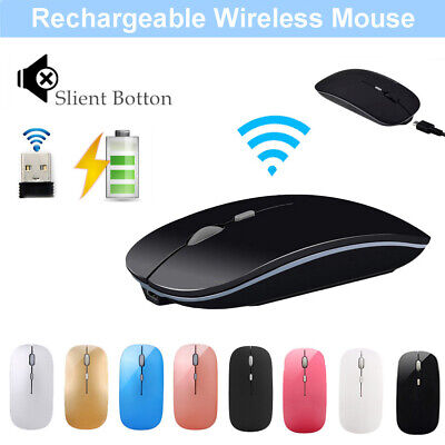 Slim Wireless Mouse Rechargeable Gaming Mice USB Optical For Computer PC Tablet