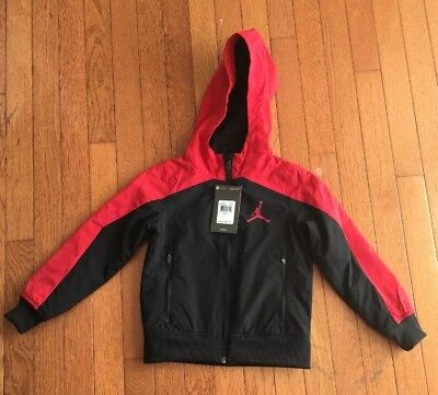 50618ea8e4cf99 NIKE AIR JORDAN Boys Hooded Lightweight Windrunner Jacket Black Red  65 SIZE  5