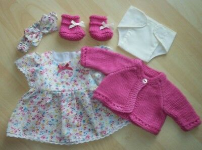 My First Baby Annabell/14 inch baby doll 5 Piece Pink Floral Dress Set (4)