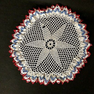 """15"""" Round   Crochet Lace Doily Red White and Blue around Edges"""