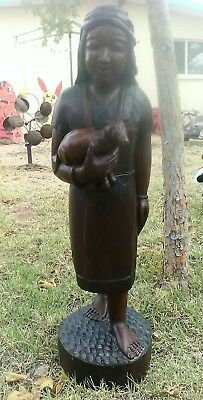 """Antique~Chinese~Hand Carved~ Statue of a Woman Carrying a Bear~ 2 ft 8"""" Tall"""