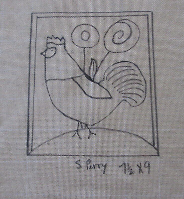 Rooster & Posies  Primitive Rug Hooking or Punch Needle pattern on monks cloth