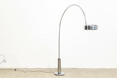 Mid Century Arc Floor Lamp Castiglioni Style Chrome Arco Floor Light