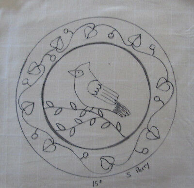 Cardninal on Round Primitive Rug Hooking or Punch Needle pattern on monks cloth