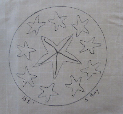 Starfishes on Round Primitive Rug Hooking or Punch Needle pattern on monks cloth