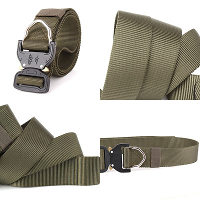 TACTICAL BELT HEAVY Duty Waist Adjustable Military Style Nylon Belts GREEN  Army