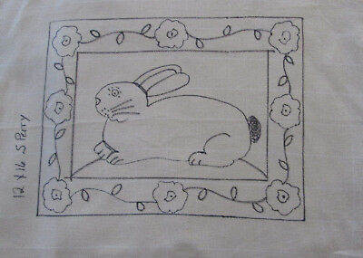 Rabbit with Posies Primitive Rug Hooking or Punch Needle pattern monks cloth