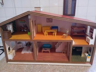 Vintage Lundby Miniature Doll House Furnished Two Stories With