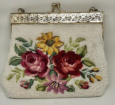 Vintage Embroidered Seed Bead Evening Bag Purse Gold Frame Chain Strap