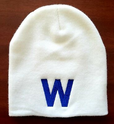 CHICAGO CUBS Blue - W Winter Skull Hat W   Cubs Win -  8.99  87bf83f716c