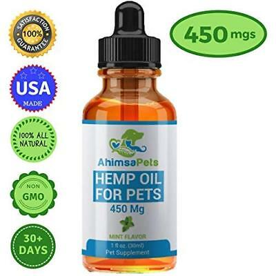 Hemp Oil for Dogs Cats and Pets (450mg) - 100% Organic Full Spectrum Extract