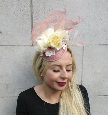 Nude Blush Lemon Light Yellow Pink Sinamay Flower Feather Hat Fascinator 6880